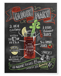 Premium-plakat  Bloody Mary opskrift (engelsk) - Lily & Val