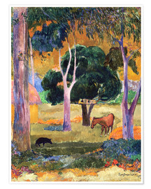Premium-plakat Landscape with a Pig and a Horse (Hiva Oa)