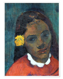 Premium-plakat Head of a Tahitian girl – The Flower that listens