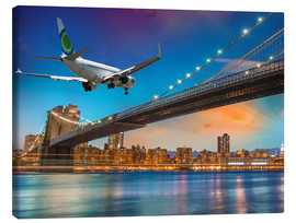 Lærredsbillede  Aircraft flying over Brooklyn Bridge in New York