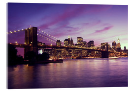 Akrylbillede  Brooklyn Bridge and Manhattan at purple sunset