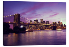 Lærredsbillede  Brooklyn Bridge and Manhattan at purple sunset