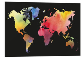 Print på skumplade  World map in water color