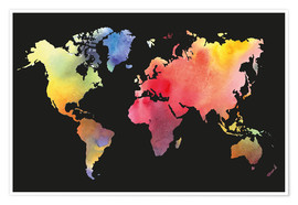 Premium-plakat  World map in water color