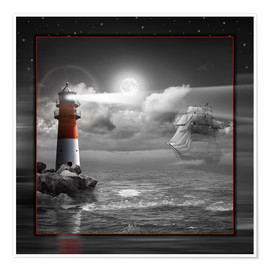 Premium-plakat Lighthouse and Sailboat in the Moonlight