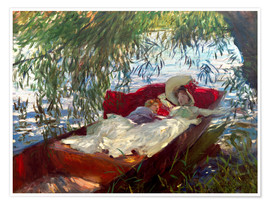 Premium-plakat Lady and boy, in a boat under pastures
