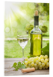 Akrylbillede  White wine glass and bottle