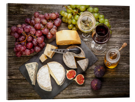 Akrylbillede  Wine and cheese still life