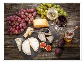 Premium-plakat  Wine and cheese still life