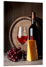 Akrylbillede  Red wine with cheese and grapes
