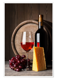 Premium-plakat  Red wine with cheese and grapes