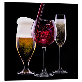 Akrylbillede  drinks - beer, wine and champagne