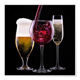 Premium-plakat  drinks - beer, wine and champagne