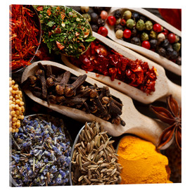 Akrylbillede  Colorful spices and herbs