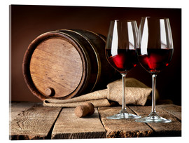 Akrylbillede  Barrel and wine glasses with red wine