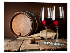 Print på aluminium  Barrel and wine glasses with red wine