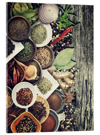 Akrylbillede  Spices And Herbs On Rusty Old Wood