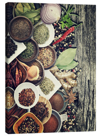Lærredsbillede  Spices And Herbs On Rusty Old Wood