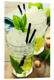 Akrylbillede  Mojito cocktail with ingredients