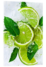 Akrylbillede  lime slices with ice and peppermint leaves