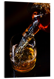 Akrylbillede  whiskey and ice on a glass table