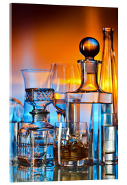 Akrylbillede  alcoholic drinks on glass table
