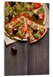 Akrylbillede  Pizza with mushrooms and arugula