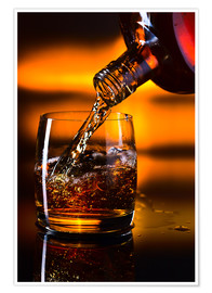 Premium-plakat  whiskey and ice on a glass table