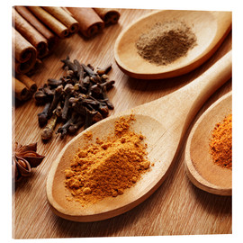 Akrylbillede  Herbs and spices on wood