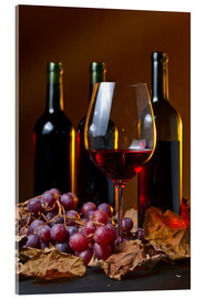 Akrylbillede  red wine with grapes and vine leaves