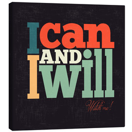 Lærredsbillede  I can and i will - Typobox