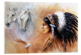 Akrylbillede  American Indian with horses
