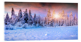 Akrylbillede  winter sunrise in the mountain forest