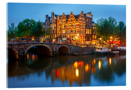 Akrylbillede  Night city view of Amsterdam