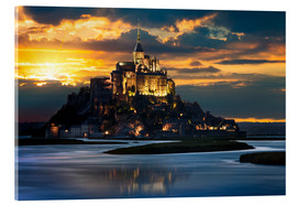 Akrylbillede  Mount Saint-Michel at sunset