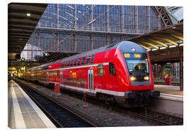 Lærredsbillede  Train in Frankfurt train station