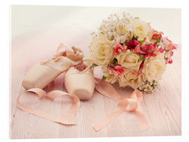 Akrylbillede  Ballet shoes with bouquet