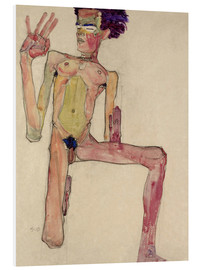 Print på skumplade  Male Nude Kneeling, with Raised Hands (Self-Portrait) - Egon Schiele