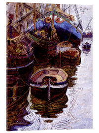 Akrylbillede  Boats in the Harbor (Trieste) - Egon Schiele