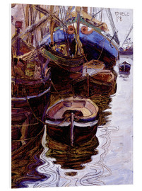 Print på skumplade  Boats in the Harbor (Trieste) - Egon Schiele