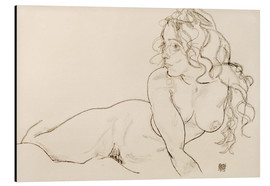 Print på aluminium  Female nude with long hair, sitting up - Egon Schiele