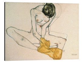 Print på aluminium  Girl with yellow scarf - Egon Schiele