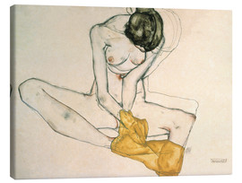 Lærredsbillede  Girl with yellow scarf - Egon Schiele