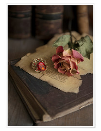 Premium-plakat  Old books, ring, letters and dry rose - Jaroslaw Blaminsky
