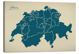 Lærredsbillede  Switzerland Modern Map Artwork Design - Ingo Menhard