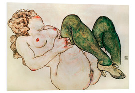 Print på skumplade  Nude with green stockings - Egon Schiele