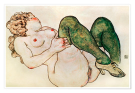 Premium-plakat  Nude with green stockings - Egon Schiele