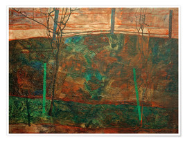 Premium-plakat Spring Landscape with Red Sky