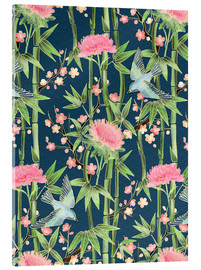 Akrylbillede  bamboo birds and blossoms on teal - Micklyn Le Feuvre