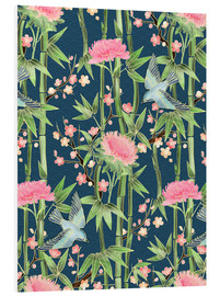 Print på skumplade  bamboo birds and blossoms on teal - Micklyn Le Feuvre